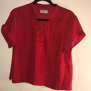 Blood Orange Cropped Silk Blouse